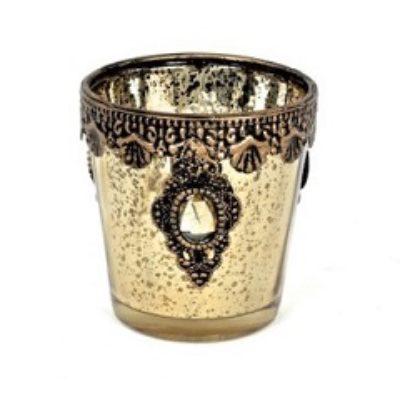 gold embellished candle holder for rent