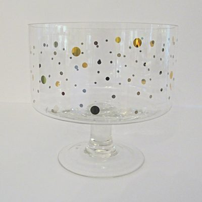 Gold Dot Pedestal Bowl for rent