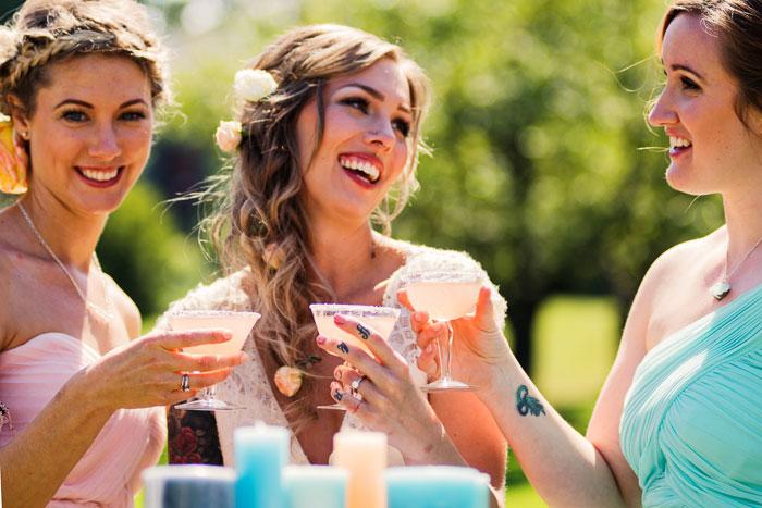 3 bridesmaids at a wedding we styled