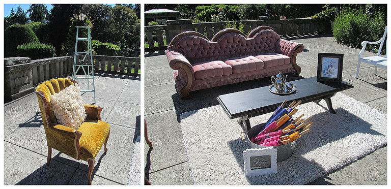 furniture used for Alice in Wonderland themed wedding at hatley castle