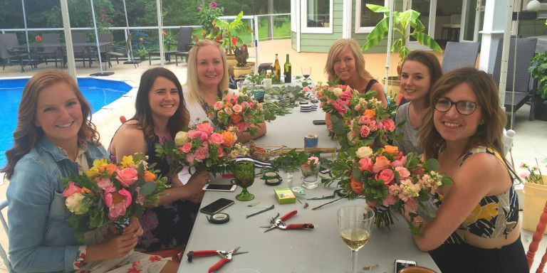 The Party Mood team enjoys a lovely morning refresher on Victoria BC wedding floral design.
