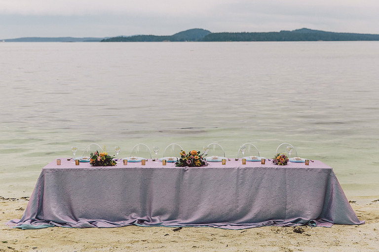 Long, ocean side guest table design for modern Victoria wedding style inspiration by Party Mood