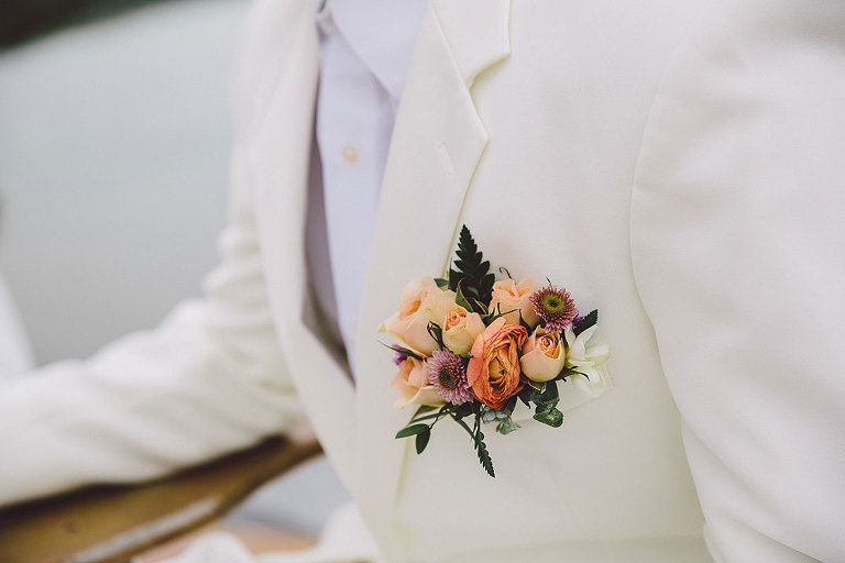 A groom's boutonniere designed for a seaside Victoria BC beach wedding styled by Party Mood.