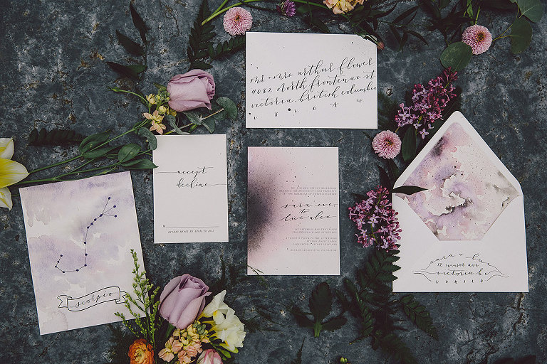 A wedding stationery suite design for a celestial water and moon themed seaside beach wedding in Victoria BC styled by Party Mood.