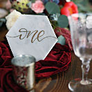 Wedding decor rentals. Marble table number marker.