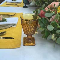 Vintage amber glassware wedding and event decor rental from Party Mood.