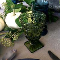 Green vintage water wine goblet from Party Mood decor rentals.