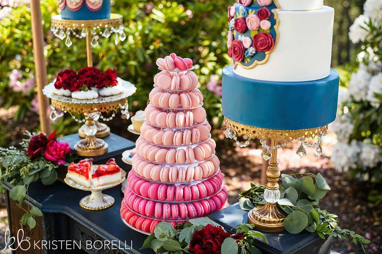 Decadent dessert table for a Marie Antoinette inspired wedding featured cake stands and three tiered dessert stands from Victoria BC wedding decor rental company Party Mood