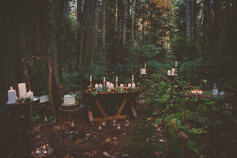 A rustic forest setting filled with decor ideas for a woodland themed wedding.