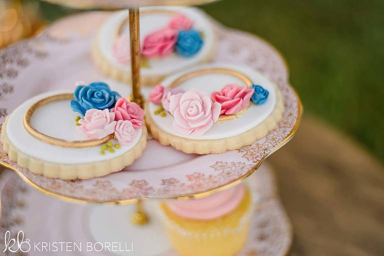 Closeup of cookies on a dessert stand from the inventory of Victoria BC wedding decor rental company Party Mood.